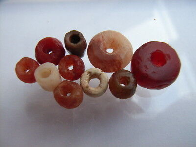 10 Ancient Neolithic Carnelian, Quartz Beads, Stone Age, VERY RARE!  TOP !