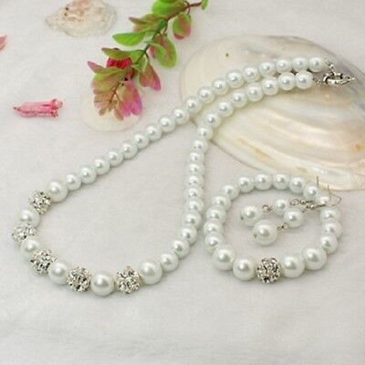 Pretty White Glass Pearl Bead Wedding/Bridal Necklace, Bracelet & Earring Set