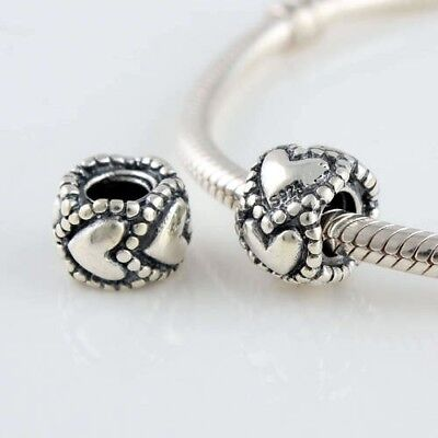 ROW of SILVER HEARTS EVERLASTING LOVE 925 Sterling Silver European Charm Bead