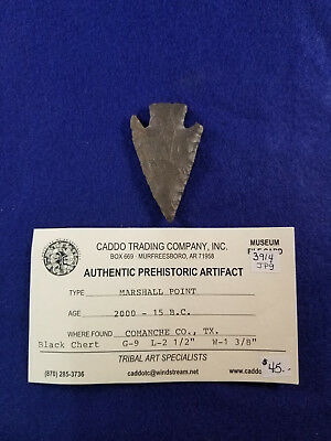 Genuine Marshall Arrowhead Texas Native American Artifact Coa G-9 Relic Archaic