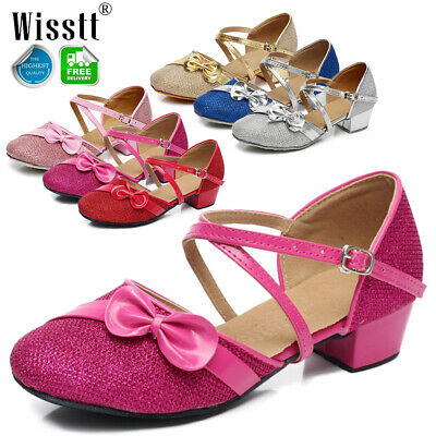 Girls Kids Childrens Mary Jane Glitter Low Heel Party Wedding Sandals Shoes 13 1