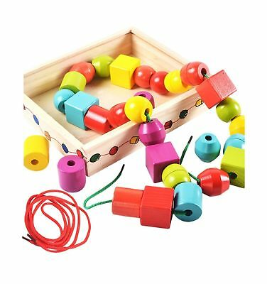Lewo Wooden Large Jumbo Lacing Beads for Toddlers Montessori Educational ... NEW
