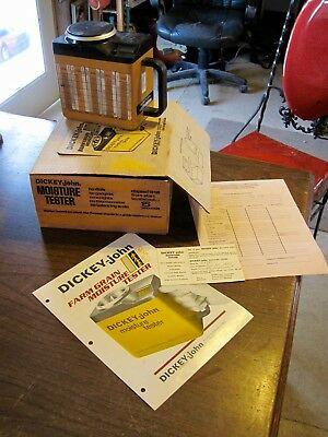 Vintage Dickey-John Grain Moisture Tester Checker BOX AND PAPERWORK INCLUDED