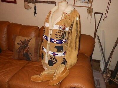 Native American Deer Hide / Moose Hide Beaded  Jacket & Moccasins Woman' Large