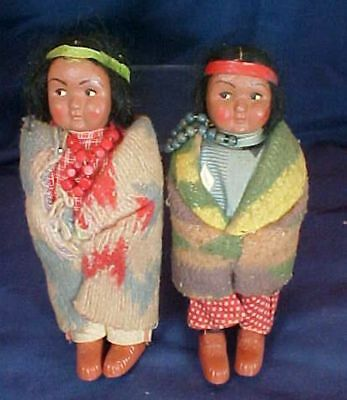 "2 Vintage Skookum Bully Good Native American Indian Dolls 6.5"" Original Clothes"