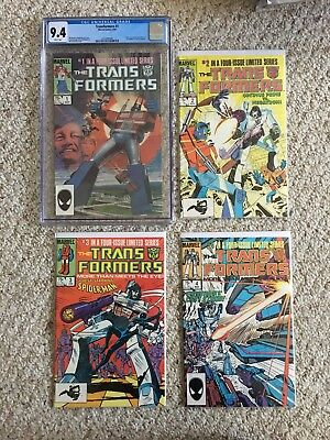 TRANSFORMERS 1 - 4 CGC 9.4 Marvel Key First Appearance WHITE pages