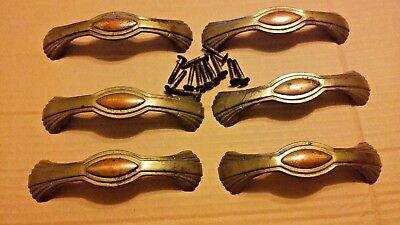 Vintage Lot of 6-Art Deco Metal  Drawer Pulls With Original Hardware