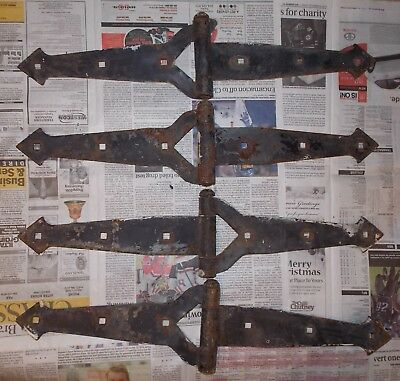 4 Large Heavy Duty Hinges for Door or Gate Industrial Gothic Steampunk Ca 1920