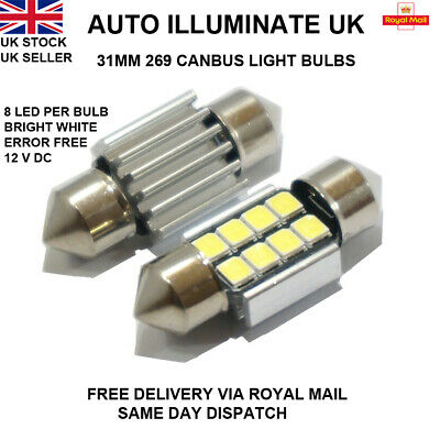 31mm 8 LED Xenon White 269 Car Interior Boot Festoon Canbus Light Bulbs Lamp 12V