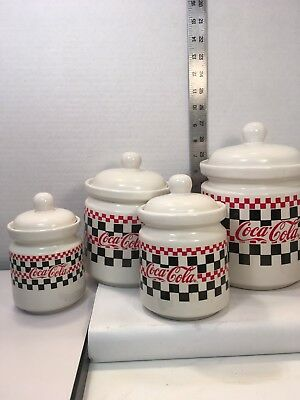 4 COCA COLA CANISTERS w/ Lids Checker Board GIBSON Graduated Sizes