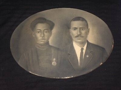 Antique Oval Black Couple was in Large Convex Bubble Glass Frame