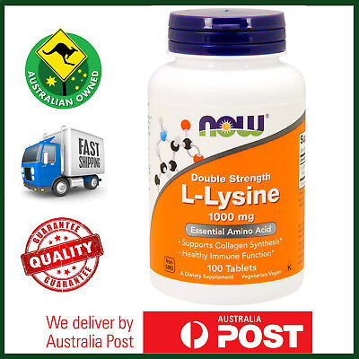 NOW Foods L-Lysine, 1000 mg, 100 Tablets - Amino Acid, Vegan AUS STOCK FAST SHIP