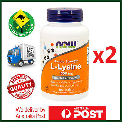 TWIN PACK: NOW Foods L-Lysine, 1000 mg, 200 Total Tablets - Amino Acid
