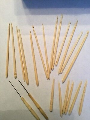 Large lot of Antique Bovine Bone Crochet Hooks and Bodkins (21 pieces)