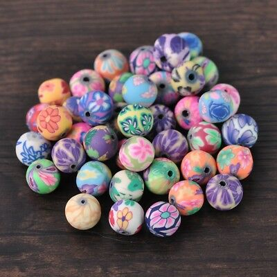 25pcs 10mm Round Mixed Patterns Polymer Clay DIY Craft Loose Spacer Beads