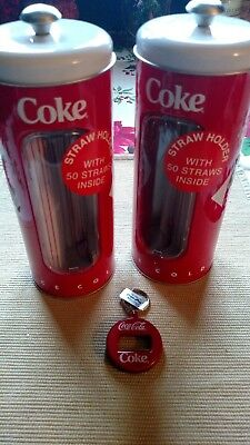 Coke tin collectable straw holders/dispensers and bottle opener key chain..new