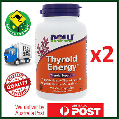 TWIN PACK Thyroid Energy 180 Veg Caps by NOW Foods - Healthy Function L-Tyrosine