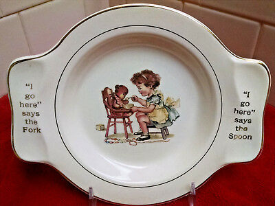 Vintage childs plate Girl Feeding Teddy Bear-Made for International Silver Co