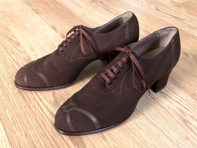 Vintage 1930's Brown Suede & Crocodile Heels Shoes! 6C