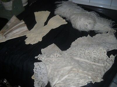 Victorian trim, pair of vintage gloves, purse, old fan and old feathers