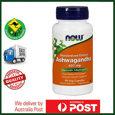 Ashwagandha, 450 mg, 90 Veg Caps by NOW Foods - Stress Relief - FAST SHIP AU