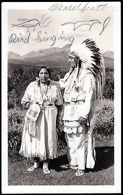 Montana Blackfeet Indians ~ Autographed Photo By Weasel Feather & Bird Singing