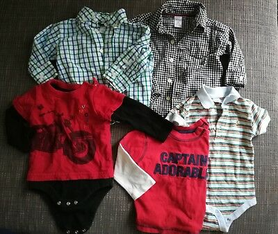 Infant Baby Boys Gap Carter's Lot Long Sleeve Bodysuit Button Down Shirt 6-12 M