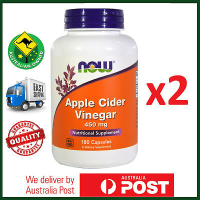 TWIN PACK: Apple Cider Vinegar, 450 mg 360 Total Caps by NOW Foods - FAST SHIP