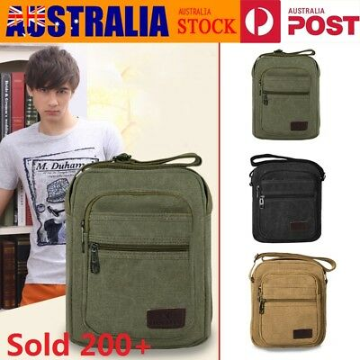 Retro Men's Canvas Messenger Shoulder Bag Travel Hiking Satchel Crossbody Bag AU