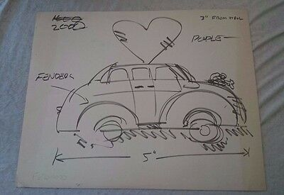 Frank Romero Car Drawing study Signed Listed Artist ORIGINAL!