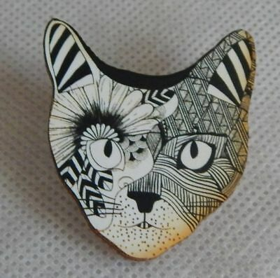 Doodle Art Cat Face Brooch or Scarf Pin Wood Accessories Fashion NEW Multi Color