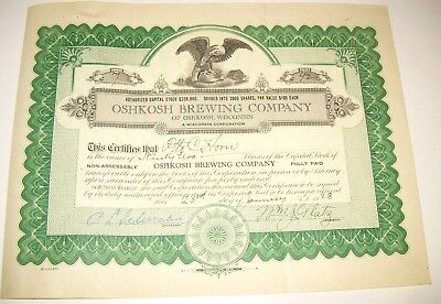 1928 Stock Certificate - OSHKOSH BREWING (Beer) CO. Signatures of Company !