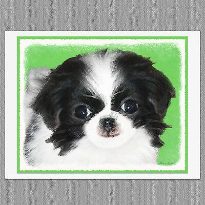 6 Japanese Chin Puppy Dog Blank Art Note Greeting Cards