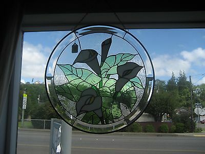 Fabulous Vintage Leaded Beveled Cut Glass Lily Flower Hand Crafted Window