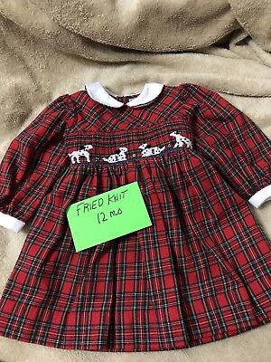 HAND SMOCKED Red plaid/black GIRLS 12 Mo.   DRESS with Dalmatians.FRIED KNIT