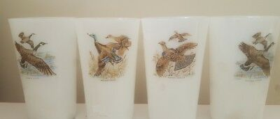 Fire King Glass Tumblers Wild Game Birds White Milk Glass 4 Drinking Glasses