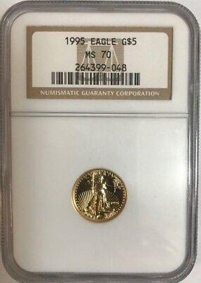 1995 $5 Gold Eagle Ngc Ms70 , Pcgs Price Guide Value $3,000