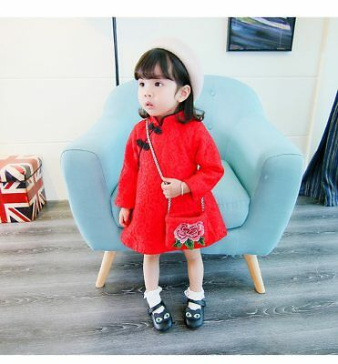 Toddler Kids Baby Girl Long Sleeve Extra Layer Winter Dress Chinese New Year Dre