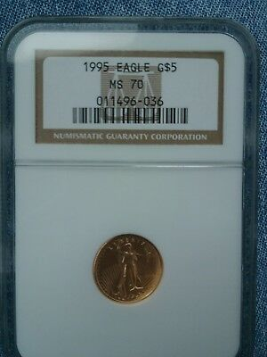 1995 $5 Gold Eagle Ngc Ms70 , Pcgs Price Guide Value $3,000.00