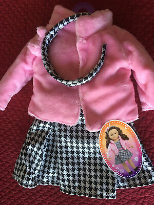 "NEW 18"" Doll Clothes Fits American Girl Black & White Check Dress Pink Fur Coat"
