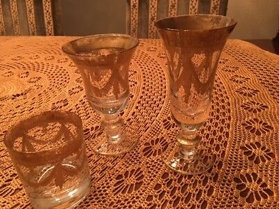 13 Pieces Vintage Arte Italica Vetro Gold Glasses with 24-KT Detailing (Horchow)
