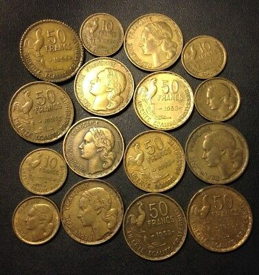 Vintage France Coin Lot - 16 ROOSTER COINS - 1950s - High Grades - Lot #J19