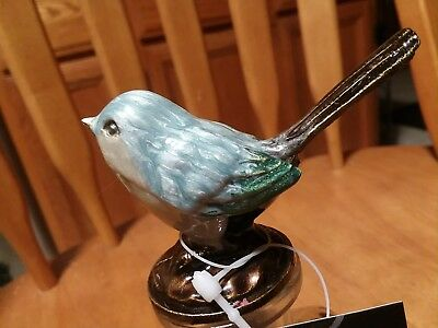 Glass Bottle & Pewter enamel painted blue sparrow Bird NWT Creative Co-op rustic