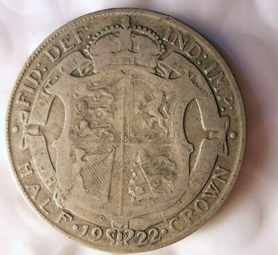 1922 GREAT BRITAIN 1/2 CROWN - High Value Scarce Silver Coin - Lot #J19
