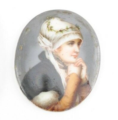 Stunning Antique Miniature Hand Painted Portrait Of A Woman On Plaster