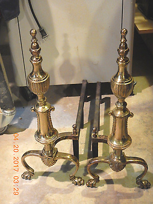 Antique Sheffield Ny Claw Feet Urn Spool Brass Andirons Fireplace Iron Fire Dogs