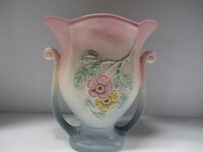 Hull Art Pottery Vase Wildflower Pattern USA-1 1/2 Leaf Winged Pink To Blue