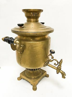 Antique Russian Large Brass Samovar with Makers Mark