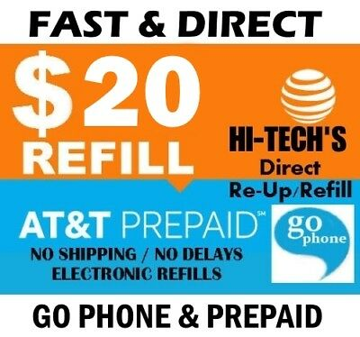 $20 AT&T PREPAID & GO PHONE FASTEST ONLINE REFILL > 25yr USA TRUSTED DEALER <