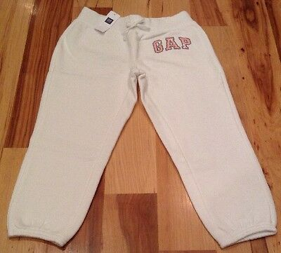 Gap Kids Girls Small (6-7) White (Crop) Sweatpants With Pink Sequins. Nwt